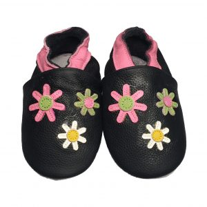 Flower Black Soft Sole Leather Shoes