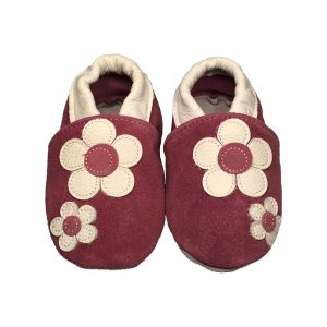 Violet Flower Soft Sole Leather Shoes