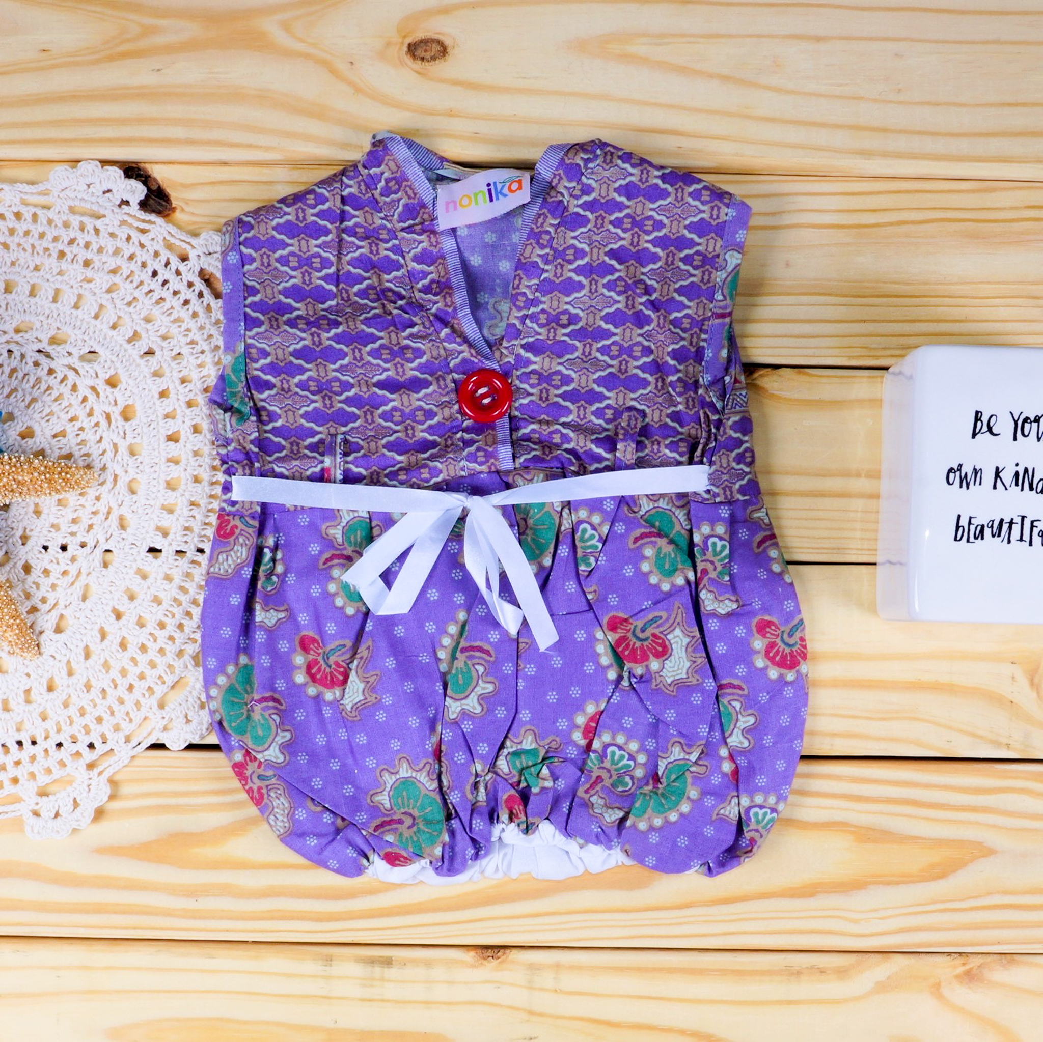 46f0b7acf11d Baby Batik Purple Floral Dress - Size 0-3 Month - My Nonika