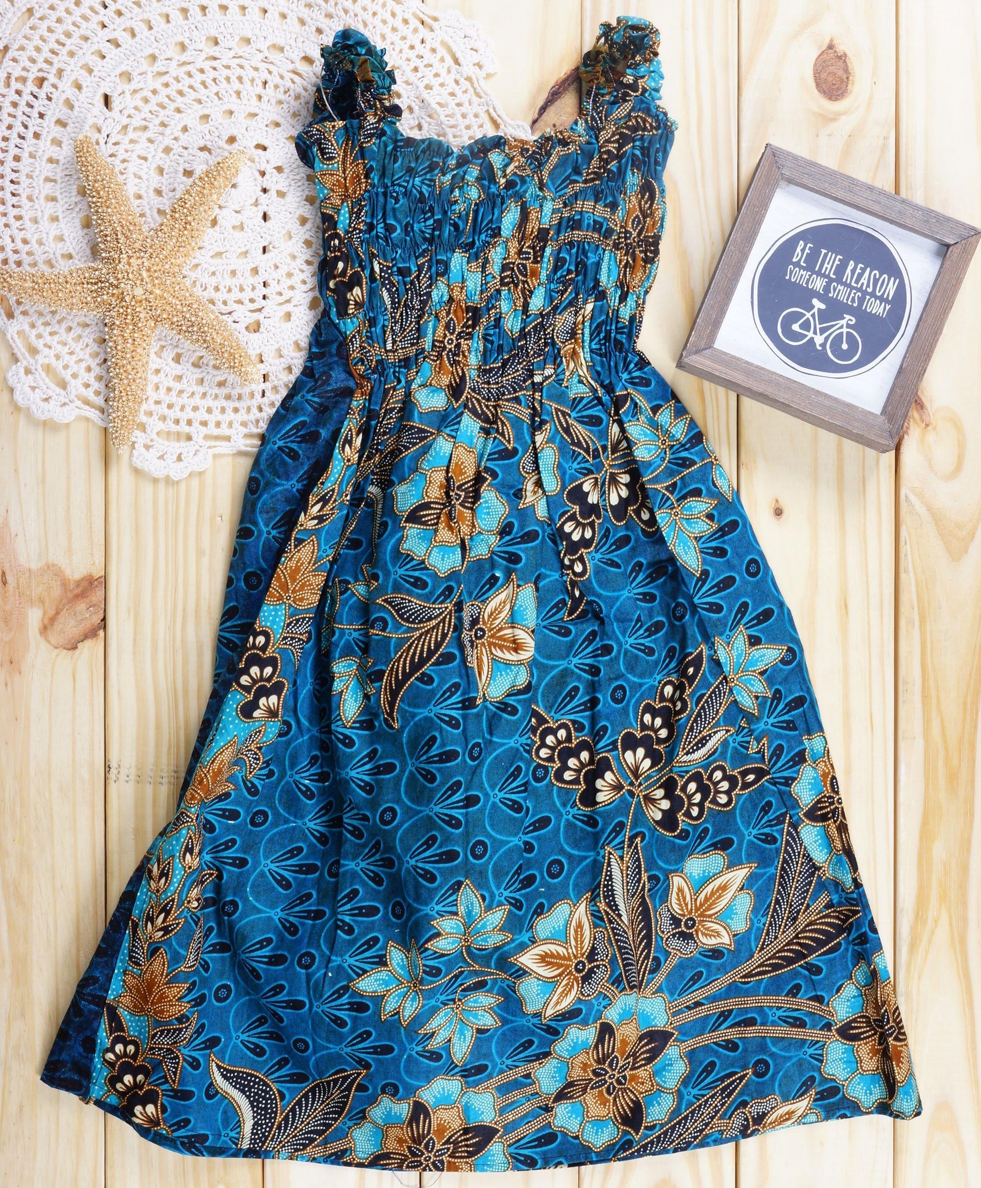Royal Princess Alas-alasan Cobalt Blue Floral Batik Dress